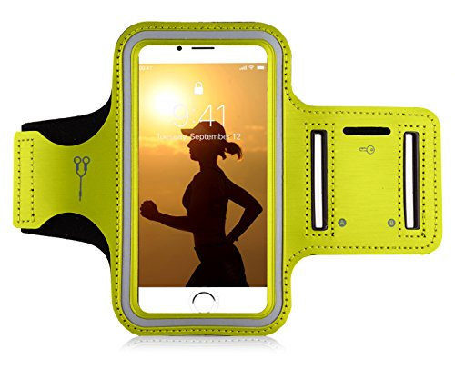 "MyGadget Sportarmband Hülle - Jogging Case Armband für 5.1"" Display Fitness Sport Armtasche für u.a. Apple iPhone XR 8 7 6, Samsung Galaxy S7 - Gelb"