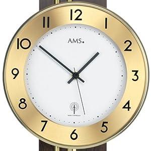 Reloj De Péndulo AMS 5266/1-Reloj de pared con péndulo Funk, dorso de madera Nogal chapada, varillas de latón marca AMS
