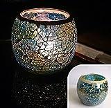 Unique_Uns Romantische Mosaik Kerzenhalter Glas Teelichthalter Teelichtglas Winter Deko Hochzeitsfeier Türkis/Blau/Rosa/Rot/Lila/Bunt (Türkis)