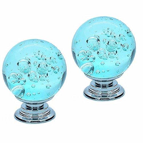 FBSHOP(TM) 30mm 2 Stück Schrank Knöpfe Bubbles Glas Kristall Kleiderschrank Türgriffe und Möbelknopf Dekorative Schrank Schublade Kommode Knopf-Aqua Blau - Blau Dekorative Glas