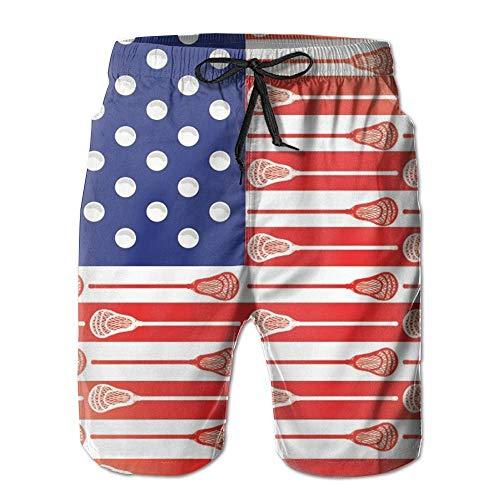 kjhglp Adult USA Lacrosse Sticks Flag Drawstring Summer Beach Board Shorts Hot Bathing Suits for Man M