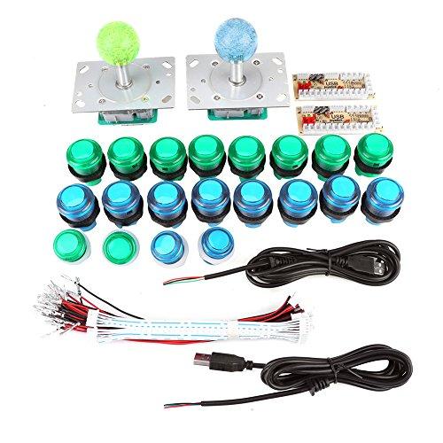 20 DIY LED beleuchtet Arcade Spiel Tasten + 2 Arcade Joysticks + 2 USB Encoder Kit Spiel Teile Set für Arcade-Spiele Maschine und andere PC Fighting Games Encoder Kit