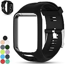 iFeeker reemplazo de accesorios de gel de silicona suave reloj pulsera banda pulsera brazalete deportivo para TomTom Runner 2 / Runner 3 / Spark 3 / Adventurer / Golfer 2 Sports GPS Running Smartwatch (Un tamaño)