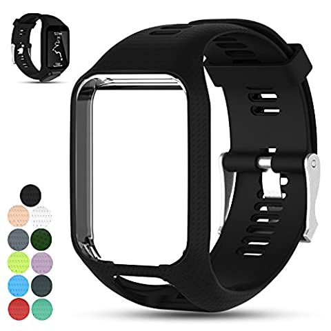 iFeeker Accessoire Remplacement Soft Silicone Gel Bague de montre Bracelet Sport Sangle pour TomTom Runner 2 / Runner 3 / Spark 3 / Adventurer / Golfer 2 Sports GPS Running Smartwatch (One Size)