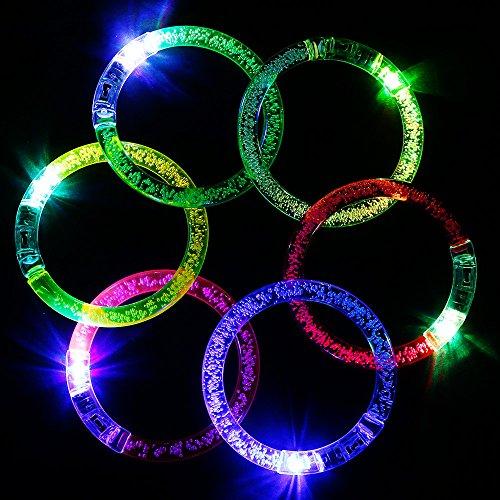 Goldge LED Armband LED Armband Armreif Leuchtarmbänder 6 Stück Blau/ Pink/ Gelb/ Grün/ Weiß/ Lila