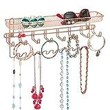 mDesign porte-bijoux mural � rangement bijoux parfait pour colliers, boucles d�oreille, bracelets & autres accessoires � range-bijoux idéal pour avoir vos accessoires à portée de main � rouge doré