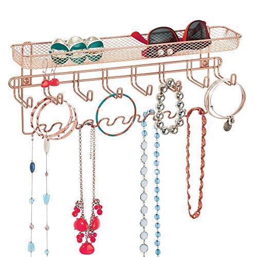 mDesign Schmuckhalter Wand – Hängeaufbewahrung für Halsketten, Ohrringe, Armbänder und andere Accessoires – praktischer Schmuck Organizer aus Metall – rotgold
