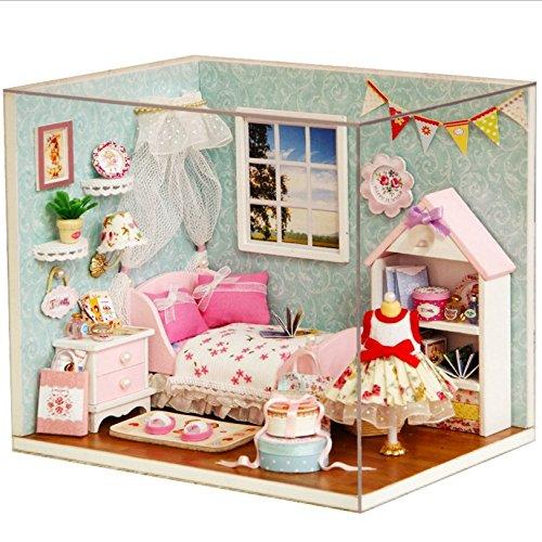 Hölzerne handgefertigte Dollhouse Miniature DIY Kit - Schlafzimmer Modell & Möbel / Teile (1:24 Maßstab Puppenhaus)