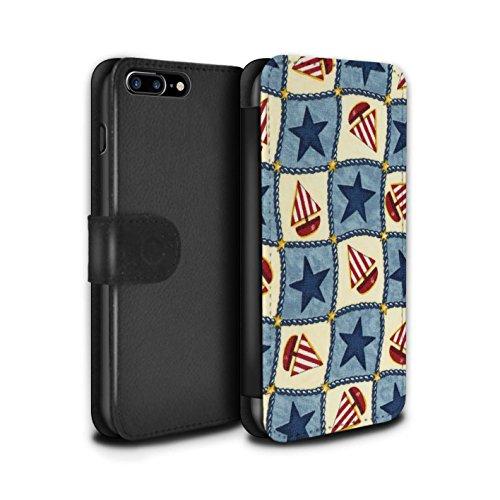 Stuff4 Coque/Etui/Housse Cuir PU Case/Cover pour Apple iPhone 7 Plus / Pêche/Violet Design / Bateaux étoiles Collection Bleu/Rouge
