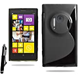 For Nokia Lumia 1020 Soft Rubber Wave Gel Skin Case Cover with Retractable Stylus Pen & Polishing Cloth (Black)