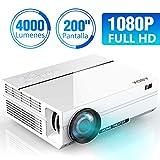 ABOX A6 4000 Lúmenes Proyector, LED Proyector de Cine en casa, 1920*1080P Full HD, Contraste 4000: 1, con Audio Hi-Fi, Soporte...