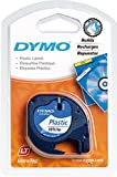 Dymo LetraTag Plastic Label Tape, 12 mm x 4 m Roll - White
