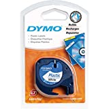 Dymo LetraTag Etiquetas de plástico, rollo de 12mmx4 m, Negro sobre Blanco