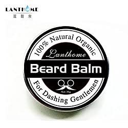 Lanthome New 100% Natural Beard Oil and Balm Moustache Wax for styling, Beeswax moisturizing smoothing gentlemen beard care