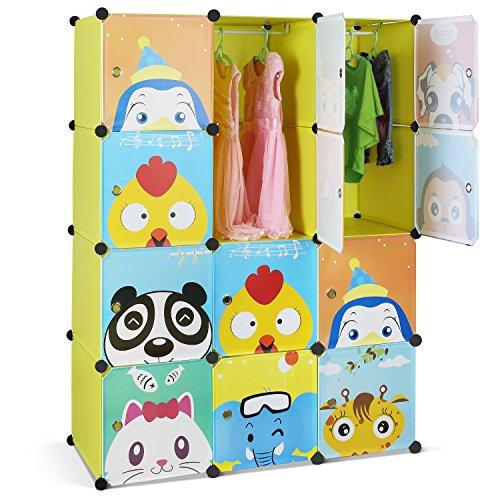 HOMFA Armario Modular Organizador Infantil Armario estantería para la ropa Convertible de 12 Cubos con Puertas Perchero para el pasillo, para niños con motivos de animales