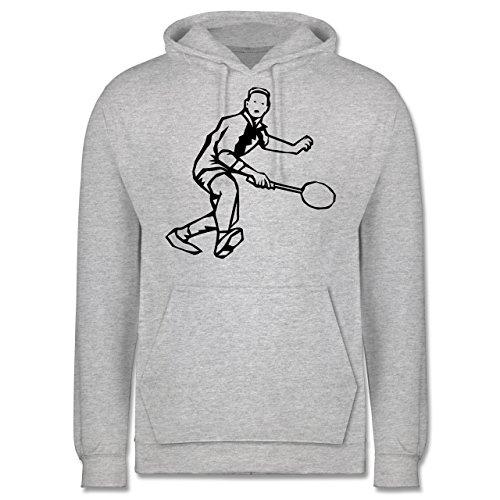 Sonstige Sportarten - Badminton Action - M - Grau meliert - JH001 - Herren Hoodie