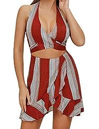 9678e8b0a Geilisungren Vestidos de Fiesta Mujer Tallas Grandes Sin Mangas Verano Falda  Cuello en V Vestido de