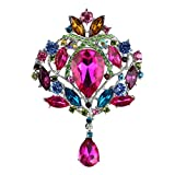 Merdia Created Crystal Brooch for Women Shiny Flower Teardrop Brooch Pin - Colourful