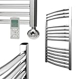 BRAY Standard Curved Heated Towel Rail/Warmer/Radiator, Chrome - Electric, Thermostat Timer. Buy Online From Solaire - Top Quality, Great Prices, Fast Delivery, 800 x 600