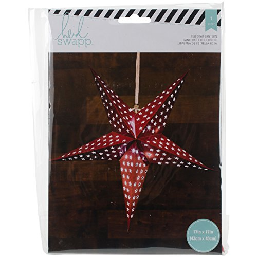 American Crafts Heidi Swapp 5 Star Lanterne en papier 43 cm Rouge, acrylique, multicolore