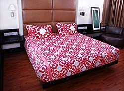 Bombay Dyeing double bedsheet with 2 pillow covers-Garnet-Red