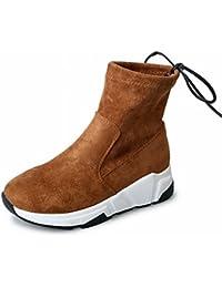 Botas de Borlas Zapatos de Estudiante de Gamuza de Color Puro Planas con Botas Gruesas Femeninas , marrón , EUR36.5