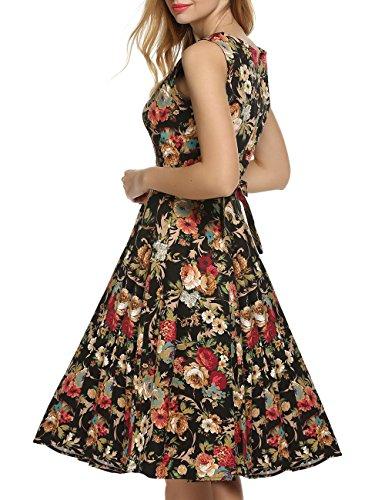 VKStar®Vintage 1950s A-Linie Klassisch Frauen Retro Drucken Blumen Audrey Hepburn Dress Abendkleid Cocktailkleid Dunkel Aprikose