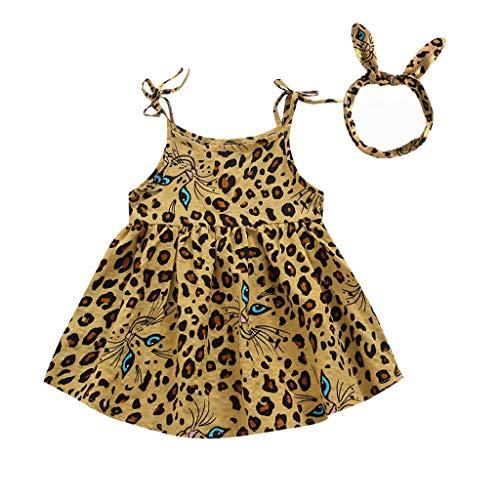 AIni Baby MäDchen Kleidung, Sommer Mode Elegant Kleinkind Kinder Baby Sleeveless Leopard Gedruckte Partei Prinzessin Rock Clothes BeiläUfiges Kleider Strand Festlich Partykleid(100,Gelb)