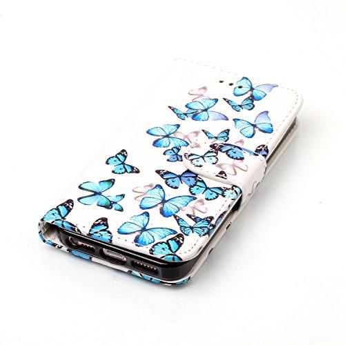 Nancen Apple iPhone 6 Plus / 6S Plus (5,5 Zoll) Hülle, Flip-Case PU Leder Handytasche - Praktisches Design mit Magnetverschluss Standfunktion Brieftasche und Karten Slot Hochwertige Wallet Etui /Leder Schmetterling