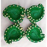 Madhoksh - Mango Shaped Handmade Diyas Designed With Golden Beads (Set Of 4 )