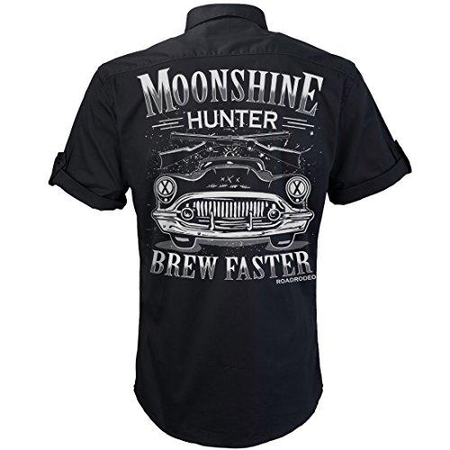 Worker Shirt, Hemd, Rock'n'Roll, V8, Hot Rod, Schnaps, Moonshine Hunter