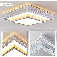 Plafón LED Sora cuadrado con peldaños en plata cepillada - Moderno plafón LED para baño, vestíbulo, salón, vestíbulo, dormitorio - lámpara de techo en blanco cálido