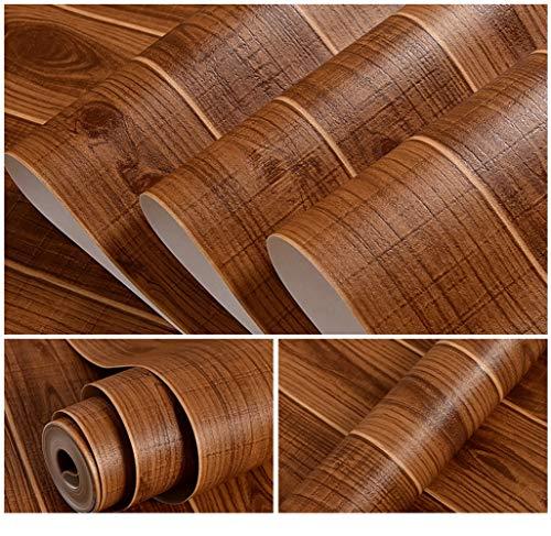 Dicke braune Holzmaserung Strukturiertes Vinyl Kontaktpapier Gegenober Papier Möbel Schränke Kleiderschrank Regal Liner Tapete, 53cm X 10m,Braun