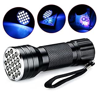 High Quality 21 LED Ultra Violet Flashlight Mini Blacklight Aluminum Torch Lamp Fake Currency Detector Camping Hiking Sports