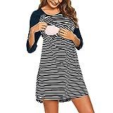Yazidan Damen Mutterschaft Gestreiftes Patchwork Mini Kleid Stillen Nachthemd Stillen Nachtwäsche Umstandsnachthemd Stillnachthemd 3/4 Ärmel Nachthemden für Schwangere und Stillzeit Freizeit Kleid