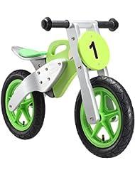 BIKESTAR® Original Premium Natur Holz Kinderlaufrad für kleine Rennfahrer ab 3 Jahren ★ 12er Motocross Edition ★ Speedy Grün