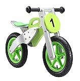 BIKESTAR Kinderlaufrad Lauflernrad Kinderrad für Jungen und Mädchen ab 3-4 Jahre | 12 Zoll Kinder Laufrad Motorrad Holz | Grün