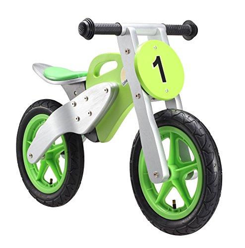 BIKESTAR Kinderlaufrad Lauflernrad Kinderrad für Jungen und Mädchen ab 3 - 4 Jahre ★ 12 Zoll Kinder Laufrad Holz Motorrad ★ Grün