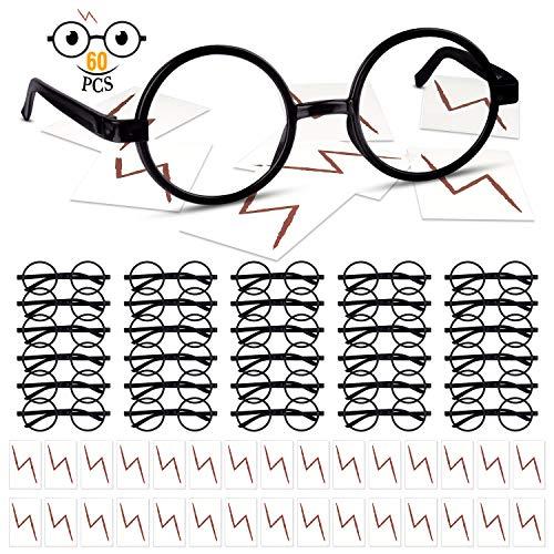 TUPARKA Zauberer-Brille ohne Gläser, runder Brillenrahmen mit Blitz Tattoos für Halloween, Kostüm, Party-Zubehör (Blitz Kostüm)