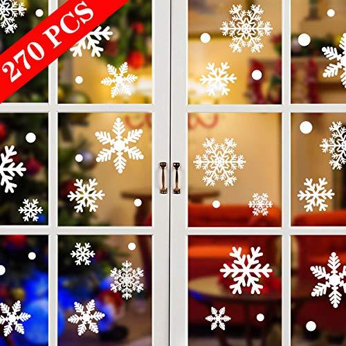 Tuopuda Weihnachtssticker 270 Stück Schneeflocken Fenstersticker Weihnachten PVC Statisch Haftende Aufkleber Türaufkleber Weihnachtsdekoration für Türen,Schaufenster, Vitrinen, Glasfronten und mehr