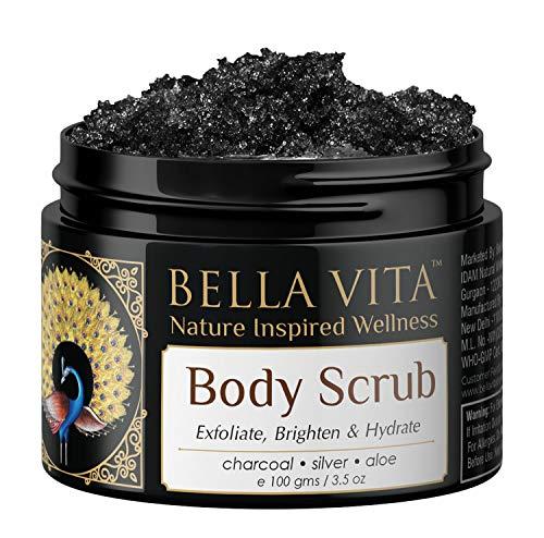 Bella Vita Organic De-Tan Removal Body Scrub For Neck, Shoulders, Elbows, Knees & Toes Deep Cleansing Skin Brightening & Hydration, 100g