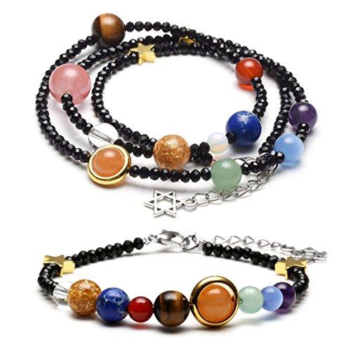 Planet Halskette (JOVIVI Schmuck Set Glas Beads Armband + Halskette Energietherapie Planet Asteroid Sonnensystem Stein Armreif Wickelarmband Schwarz)