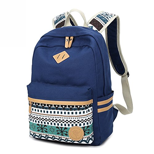 Imagen de backpack  escolares, marsoul mujer  escolar lona grande bolsa estilo étnico vendimia casual colegio bolso para chicas gypsy azul