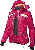 CRIVIT® Damen Skijacke imprägniert mit BIONIC® FINISH ECO (pink / lime / weiß, Gr. 40)
