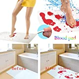 Hlhn Tappetino Pad Tappeto Bloody Cambia Colore Foglio Diventa Rosso Wet Make You Bleeding Footprints Floor Carpet, White, 16.5 x 27.5 in (42x70 cm)