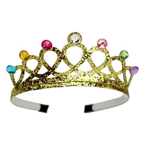Geburtstag-Krone Diadem für Kinder Erwachsene Mädchen in Schwarz oder Gold Haar-Schmuck-Kostüm-Zubehör Junggesellinnenabschied Hochzeit Fasching Karneval Halloween (Gold) (Mädchen Kostüme Erwachsene)