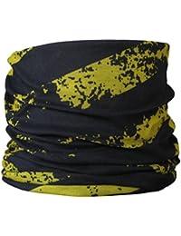 Multifunctional Headwear Distressed Yellow & Black Diagonal Stripes