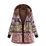 OverDose Damen Winterjacke Windbreaker Wärmemantel Plus Size Damen Kapuzen Causal Slim Soft Langarm Vintage Damen Fleece Dick Coats Zipper Coat