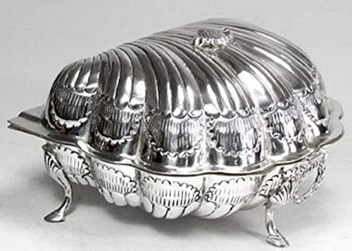 Casa Padrino Jugendstil Keksdose mit Deckel Silber/Weiß 19 x 19 x H. 12 cm - Barock & Jugendstil...
