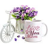 Tied Ribbons Gift For Mother   Gift For Mother In Law   Gift For Mothers Day   Mothers Day Gifts   Cycle Vase With Artificial Flowers And Coffee Mug(325 Ml)
